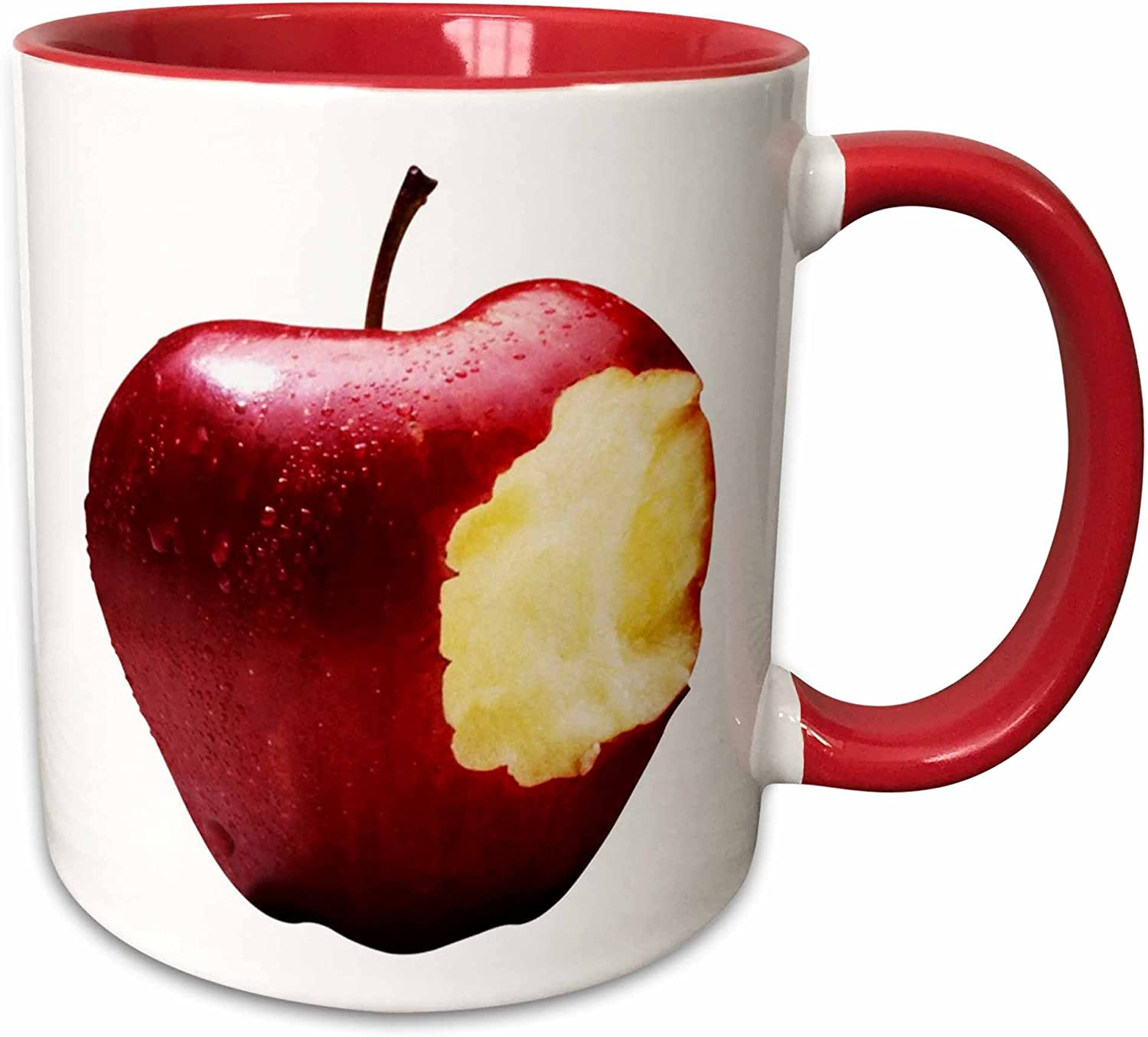 3dRose Big Apple Ceramic Mug, 11 oz, Red/White