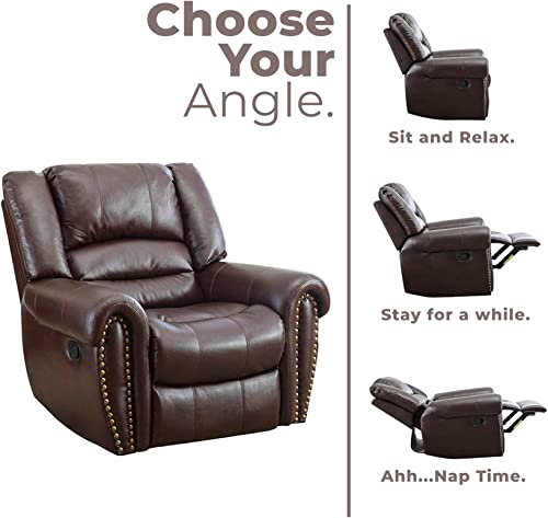 GOOD GRACIOUS Recliner Chair Faux Leather Oversized Reclining Sofa,Heavy Duty and Overstuffed Arms and Back Classic Recliner