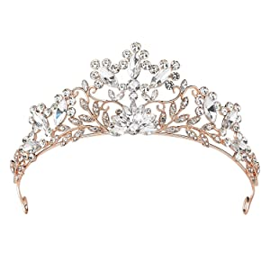 SWEETV Rose Gold Wedding Tiara for Bride, Crystal Tiaras and Crowns for Women, Princess Tiara Costume Crown for Birthday Party Prom