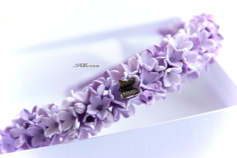 purple hydrangea crown Lilac Hair aliceband polymer clay flower.