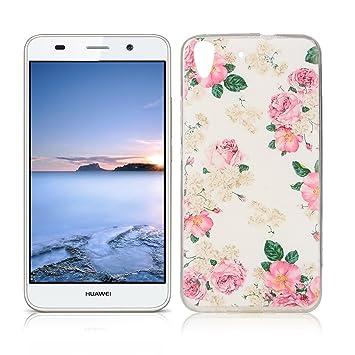 OuDu Funda para Huawei Y6 II/Y6 2 Carcasa Protectora Caso Silicona TPU Funda Suave Soft Silicone Case - Flor Rosa