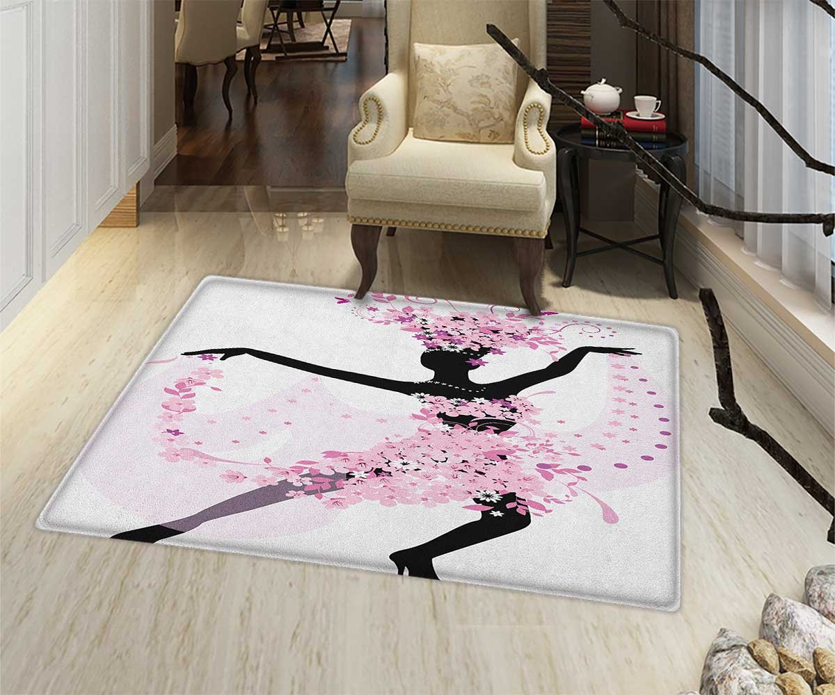 Latin Anti-Skid Area Rug Silhouette of a Woman Dancing Samba Salsa Latin Dances Spain and Mexico Culture Print Floor Mat Pattern 24''x36'' Pink Black