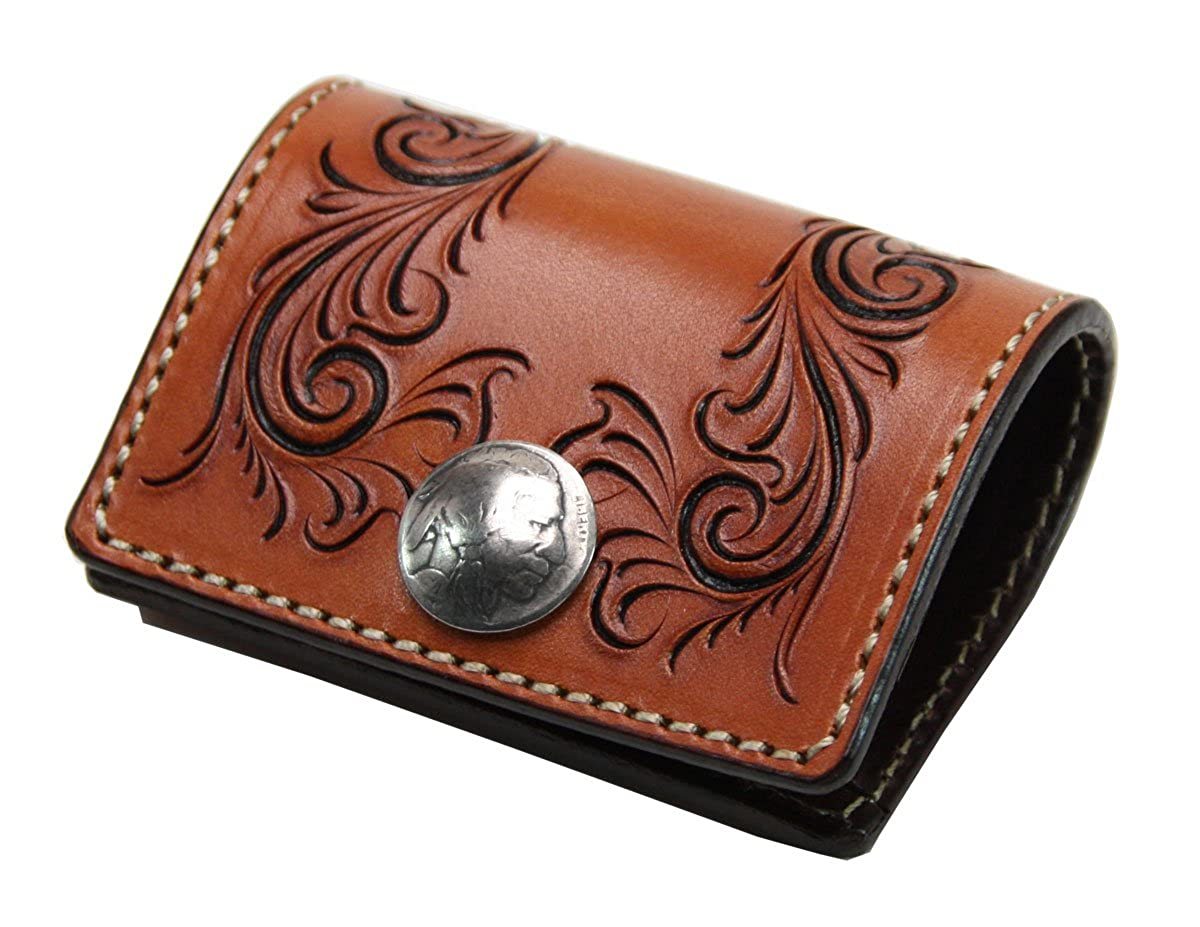 KC,s Leather Craft Coin Purse No.3 Freecut Color Light Brown Handmade in Japan