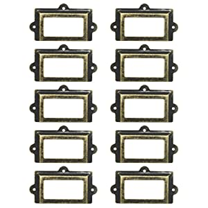 WEICHUAN 10 Pieces Large 107mm60mm Card Holder Drawer Pull/Label Frames Card/Label Holder/Tag Pull/Cabinet Frame Handle/File Name Card Holder - Metal Art Bronze Tone with Screws