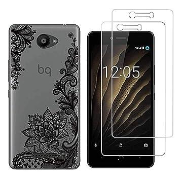 Funda BQ Aquaris U,Tótem negro Flexible Suave Transparente TPU Gel silicona Anti-Arañazos Smartphone Cascara Protectora Para BQ Aquaris U / U Lite (5,0