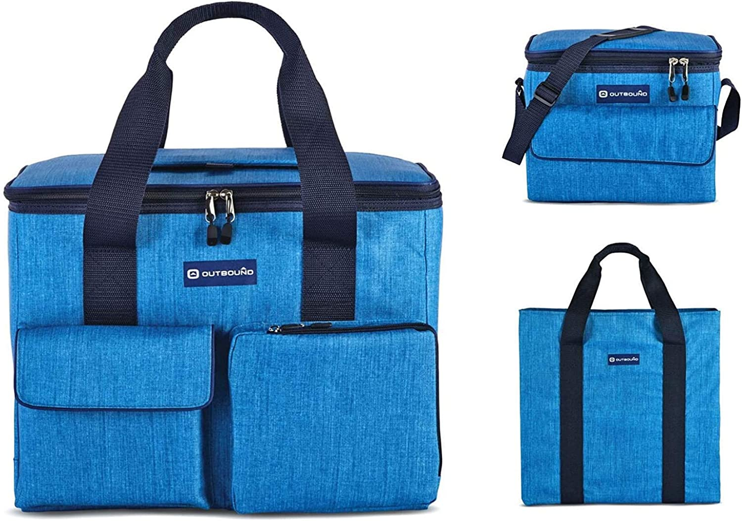 OUTBOUND Soft Cooler | Portable 3-Piece Insulated Large 30 Can, Small 6 Can Cooler and Tote Bag for Beach, Camping, and Outdoors | Collapsible, Heathered Blue