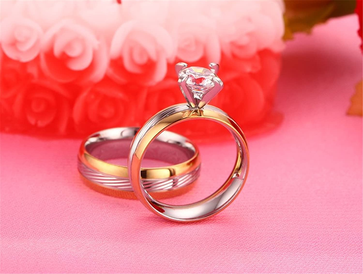 ALEXTINA 6MM Men\'s Silver Stainless Steel Couple Ring Two Tone Gold ...