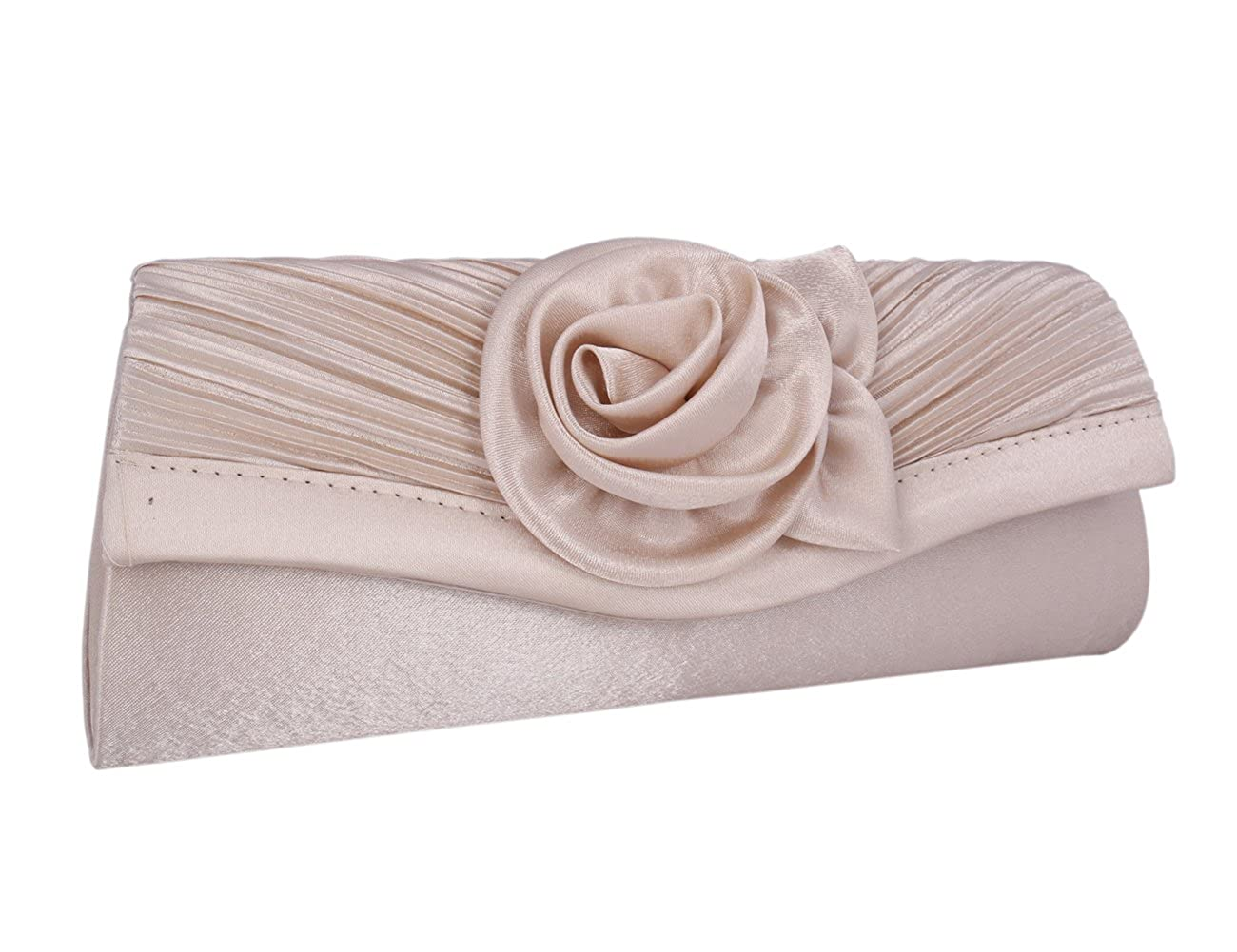 Champagne Adoptfade Womens Pleated Flower Evening Clutch Satin Vintage Dinner Bag