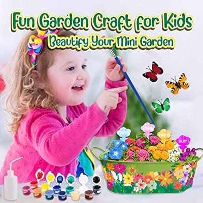 Innorock Kids Arts and Crafts Garden Kit STEM Educational Flower Gifts Craft for Girls Boys Age 5 6 7 8 9 10-12 Year Old Birthday Plant Growing Gardening Set Paint Your Own Planter Tools Kits