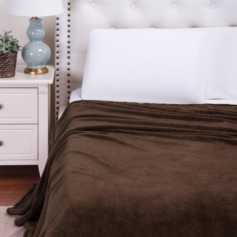 Flannel Fleece Blanket Brown King Size Lightweight Cozy