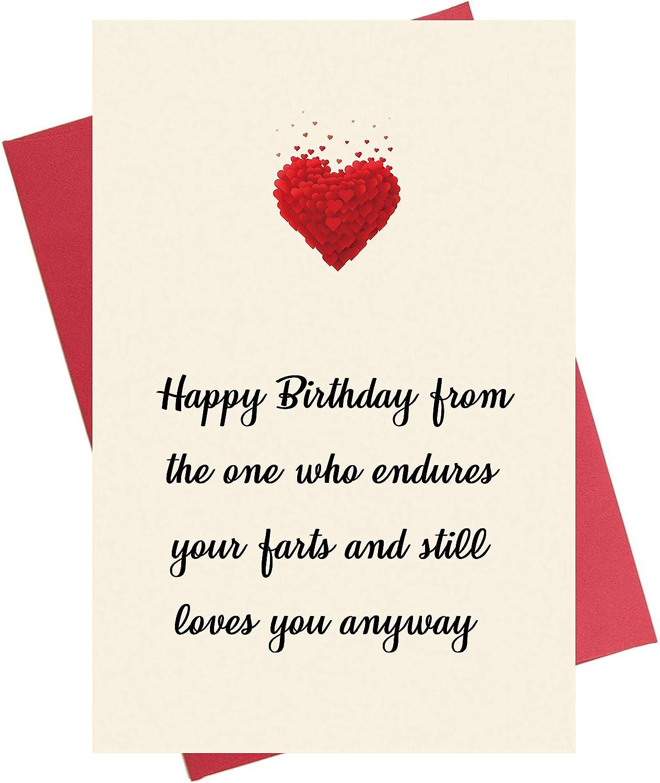 Funny Birthday Card, Bday Card for Husband Boyfriend Him Wife Girlfriend  Her, Endures Your Farts