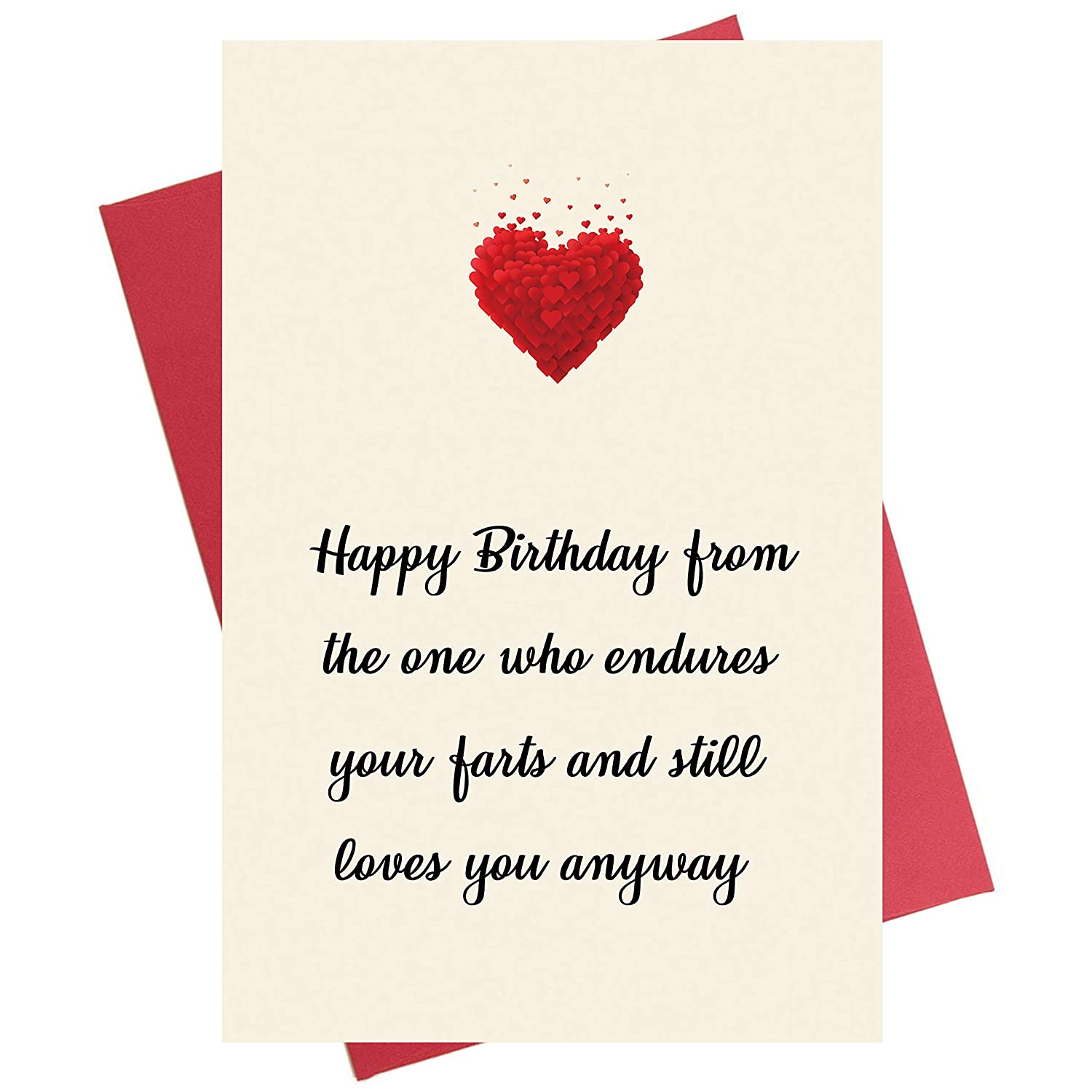 Amazon Funny Birthday Card Bday For Husband Boyfriend Him Wife Girlfriend Her Endures Your Farts Office Products