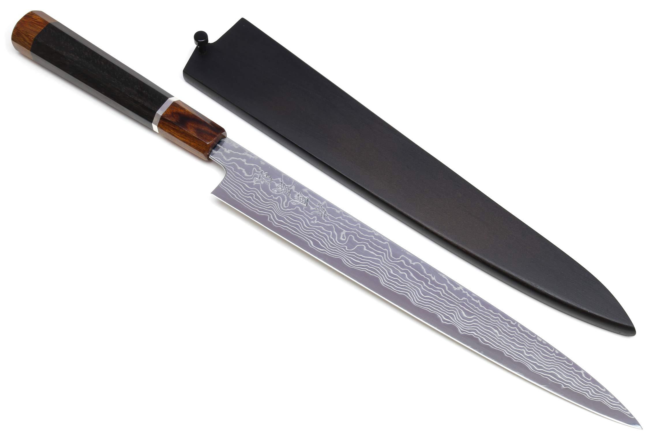 Yoshihiro Hayate ZDP-189 Super High Carbon Stainless Steel Suminagashi Damascus Sujihiki Slicer Knife Octagonal Ebony Wood Handle with Sterling Silver Ring (10.5 IN)