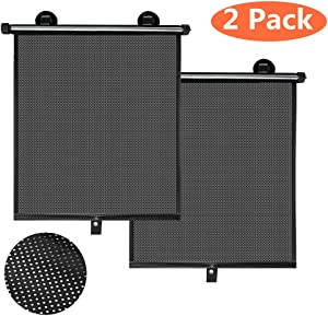 BOGI 2 Pack Car Sun Shade for Side and Rear Window, Car Shade Roller Retractable Foldable Sunshade, Protector Blocks - Protect Baby and Pets from Sun Glare and Heat(Black)