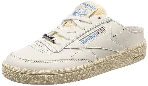3b221e22d51 Reebok Women s Club C 85 Mule Chalk Paperwhite Blue Tennis Shoes - 4.5 UK