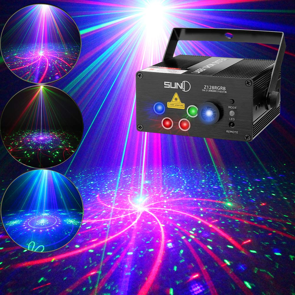 SUNY Laser Lights Music Show DJ 128 Combinations Laser Gobos Projector Indoor 5 Lens 3 Color RGB Decoration Light Blue LED Remote Control Stage Lighting Red Green Blue Sound Activated Party House Xmas