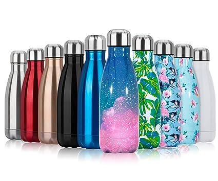 Fancytimes 350/500/750ml Botella de Agua Acero Inoxidable, Aislamiento de Vacío de Doble Pared, Estanqueidad, sin Fugas, Reutilizable para - para ...
