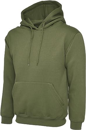 UC502 Uneek 300 gsm Clásico Sudadera Con Capucha Camisa - sintético, Verde Militar, 50% poliéster 50% algodón 50% algodón, Unisex, 4X-Grande