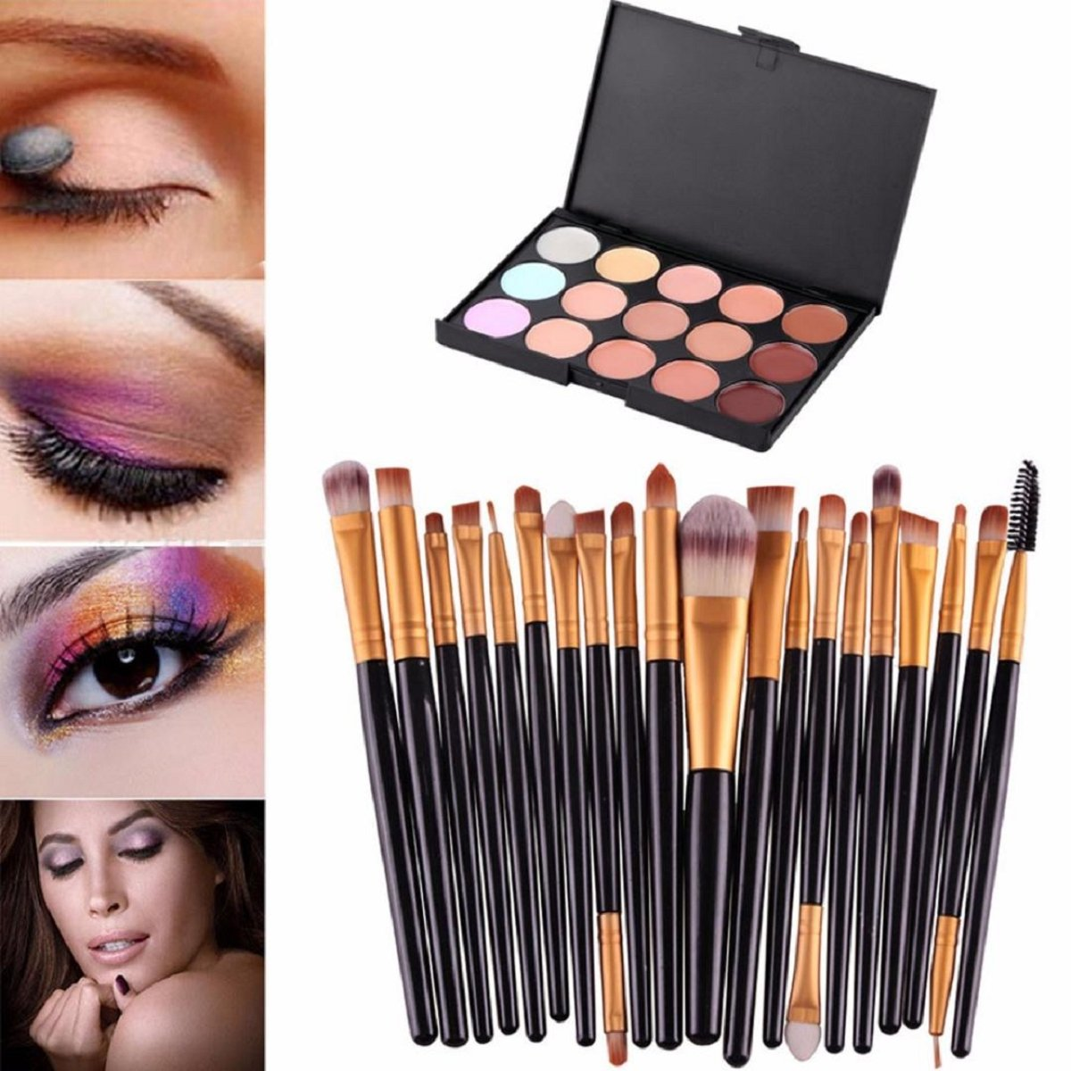 Lookatool 15 Colors Contour Face Cream Makeup Concealer Palette Professional + 20 Brush (Black 1) AK3-AT1-GL-M-X
