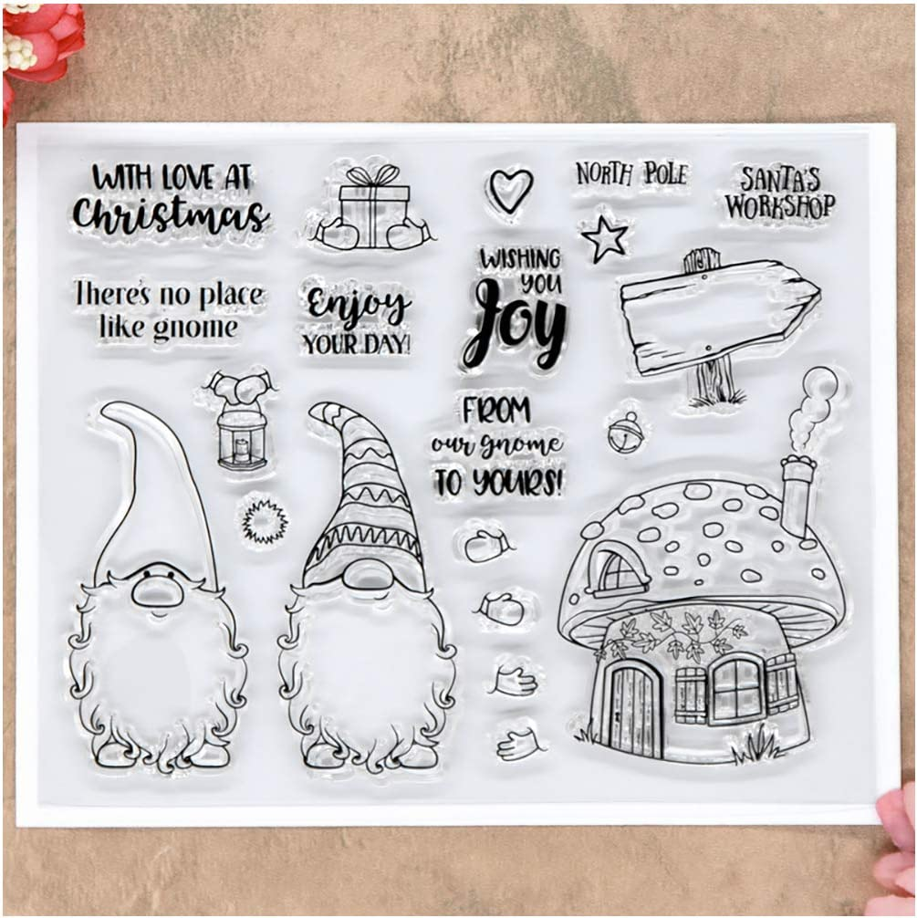 Kwan Crafts Merry Christmas Santa Clear Stamps for Card Making Decoration and DIY Scrapbooking