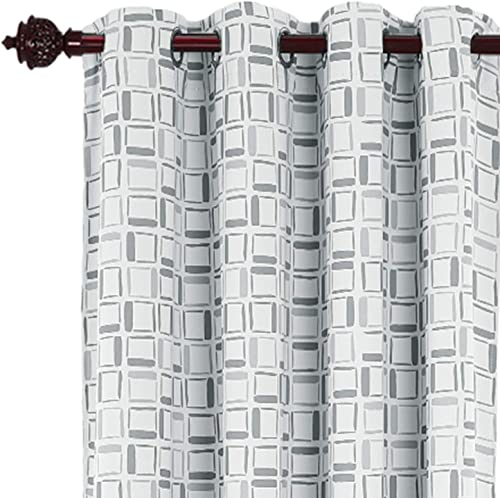 Deconovo Room Darkening Thermal Insulated Window Drapes Grommet Top Curtains with Printed Square Pattern for Bedroom, 52×95 Inch, Grey