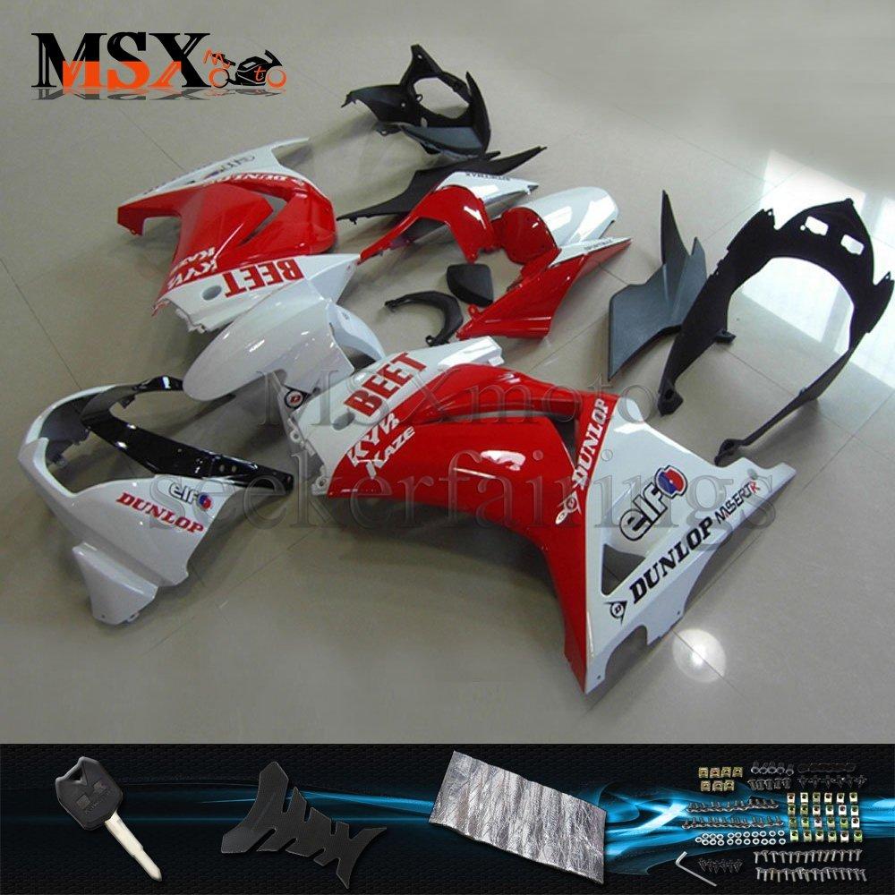 MSX-moto 適応カワサキ Kawasaki 川崎 EX250R 2008 2009 2010 2011 2012EX250 ZX250 Ninja250 08 09 10 11 12年 外装パーツセット ABS射出成型完全なオートバイ車体 赤/レッド&白/ホワイトのボディ   B07DZLLPFX