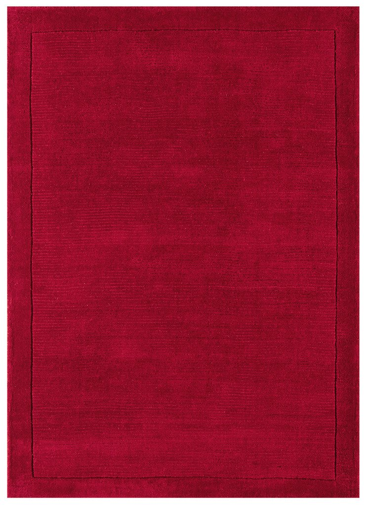 York Stylish Modern Easy Living Soft Thick Warm Plain Red 100% Wool Living Room Rugs The Rug House York Rug 060x120cm Poppy_AS