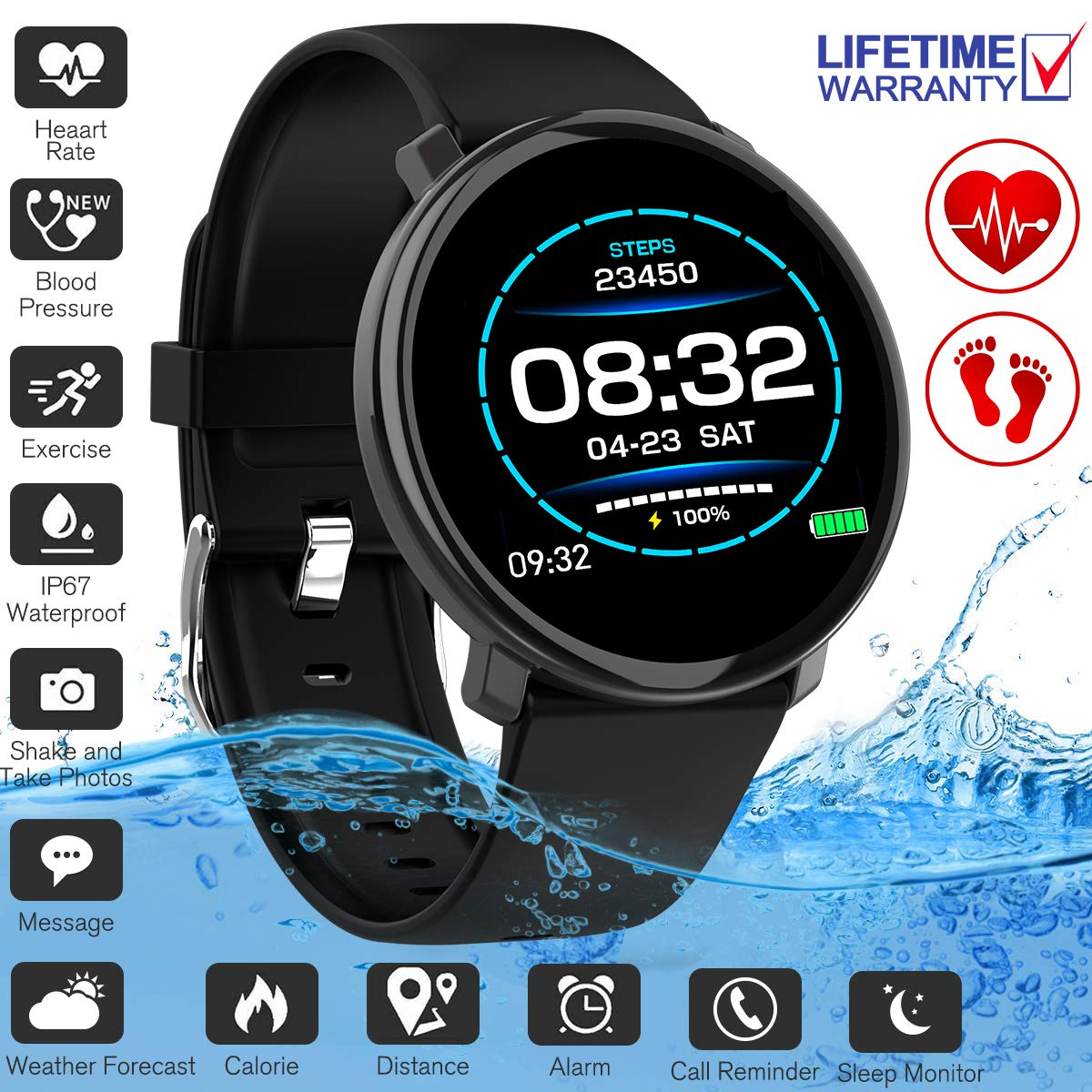 Fitness Tracker,Activity Tracker Smart Watch with Heart Rate Monitor Touchscreen,Waterproof Bluetooth Smartwatch Sport Fitness Activity Tracker Watch Compatible with Android iOS Phone Kids Women Men by YUFENGGF