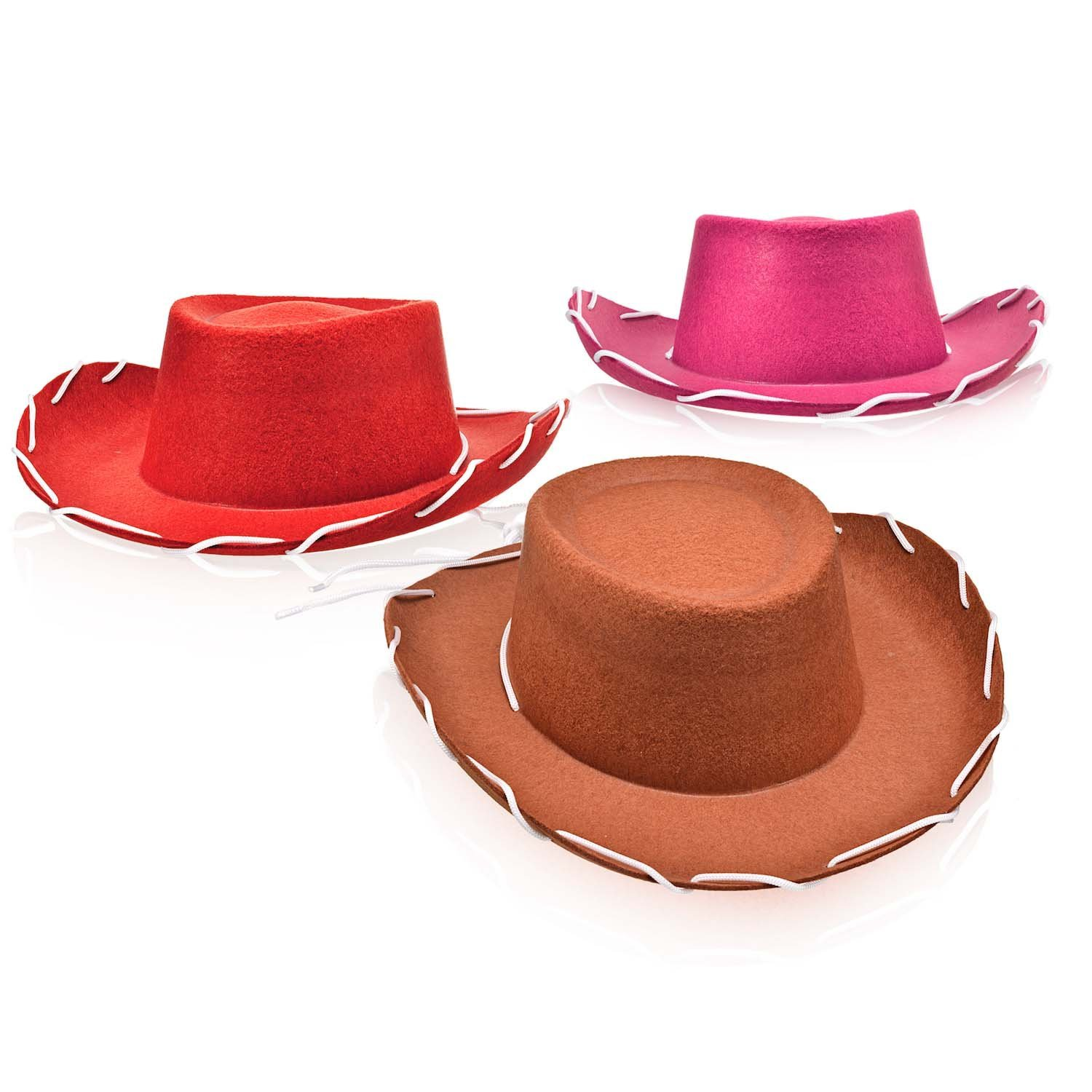 Bottles N Bags Set of 3 Children's Western Style Woody Felt Cowboy Hats in Pink, Red and Brown for Pretend Play