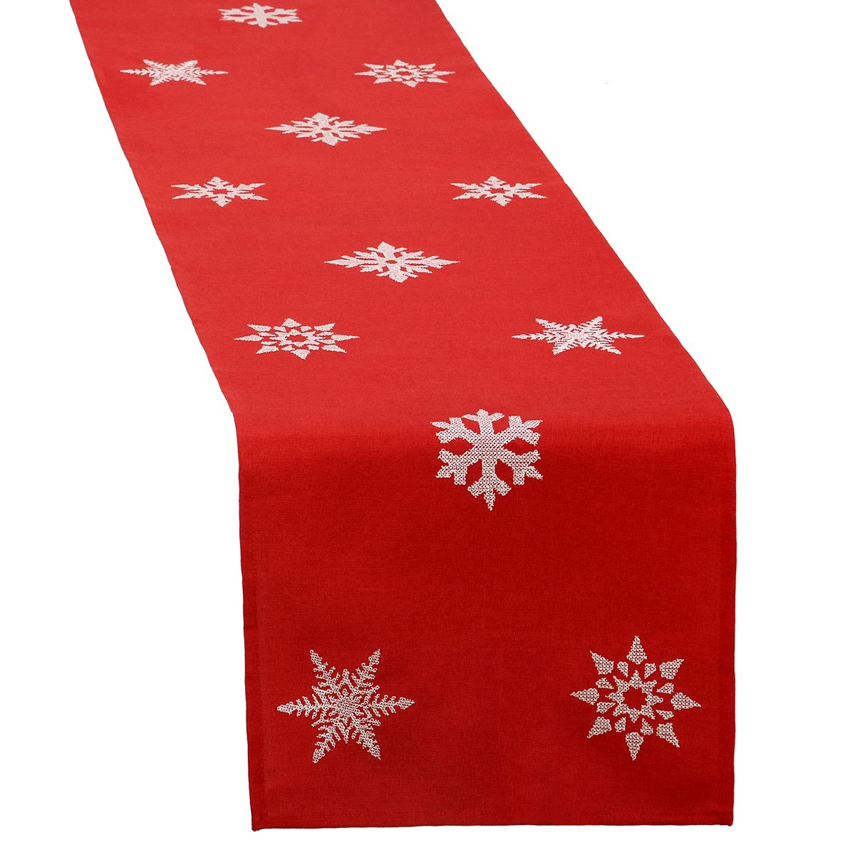 White Embroidered Snowflake Red Christmas Table Runner | ChristmasTablescapeDecor.com