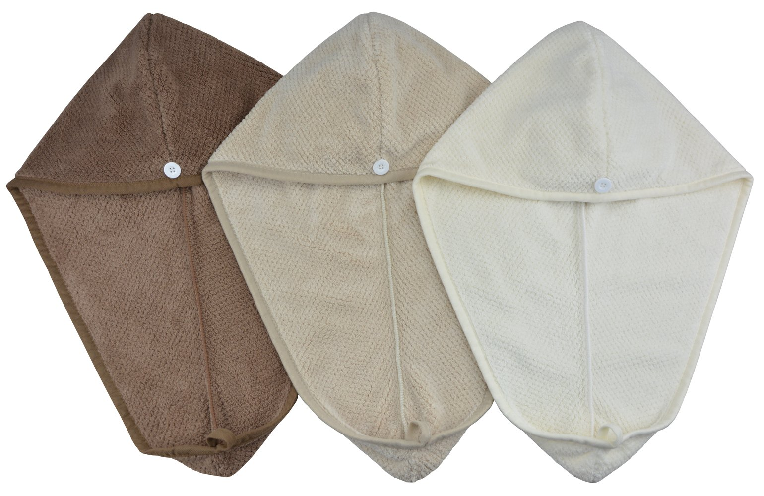 Mayouth Microfiber Hair Drying Towels for Long Hair Absorbent Soft Hair Turban Wraps for Women & Girls (Brown+Khaki+Off White 3-pack)