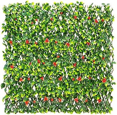 1 x 2 m extensible Artificial rojo flores de celosía – por ...