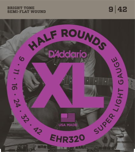 D'Addario EHR320 Half Round Electric Guitar Strings, Super L