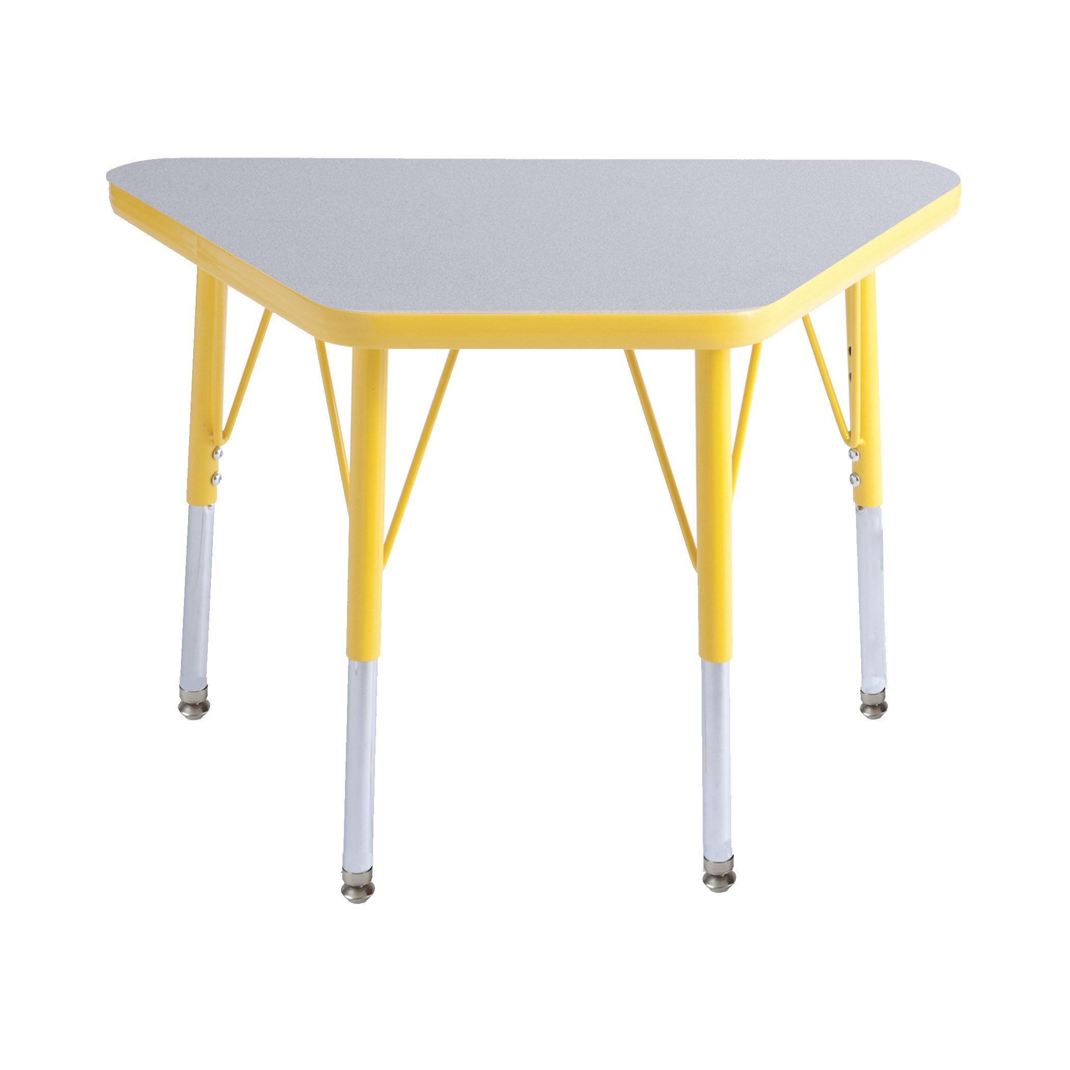 ECR4Kids Everyday T-Mold 18'' x 30'' Trapezoid Activity School Table, Toddler Legs w/Swivel Glides, Adjustable Height 15-23 inch (Grey/Yellow) by ECR4Kids