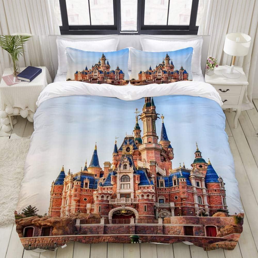 MEJAZING Duvet Cover Sheet Set,Pink Kids Blue Sky Vintage Castle,Soft Microfiber Bedding Set-3 Piece Set,King