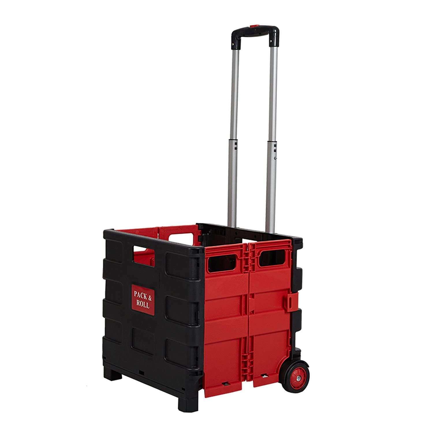 5530d1cdcda0 Lucky Tree Rolling Crate File Cart Folding Shopping Cart with Wheels  Collapsible Utility Cart for Office Travel, 15 x 16 x 14.5 inch, 77 lbs  Capacity