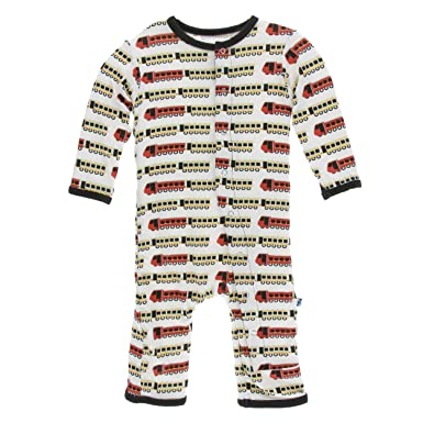 e8ec5f105 Kickee Pants Little Boys Print Coverall with Snaps - Natural Indian Train,  0-3