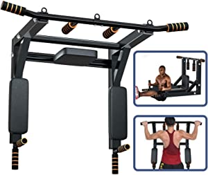 Vivitory Wall Mounted Pull Up Bar, Thicken Dip Station Multi-Grip Chin-Up Bar Dip Stands for Indoor Home Gym Workout, Power Tower Set Support to 550Lbs