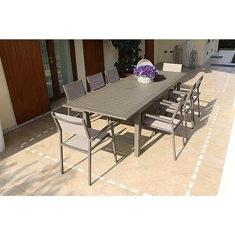 Tavolo Per Esterno Alluminio.Tavolo Rettangolare Allungabile In Alluminio Taupe 150 210 X 90 Da