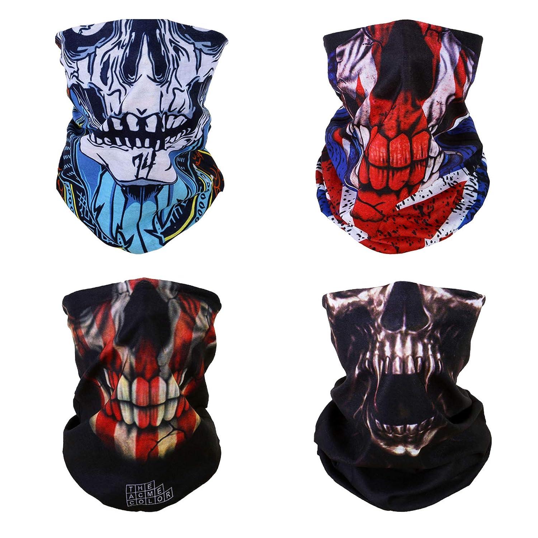 WLS 4 Stück Multifunktionstuch Gesichtsmaske Motorradmaske Sturmmaske Maske für Motorrad Ski Snowboard Snowboard Paintball Fahrrad Bergsteigen Trekking Skateboarden Angeln Skull