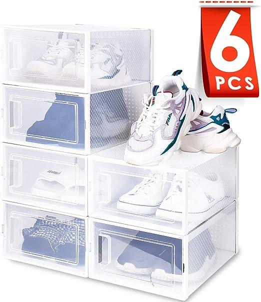 Amzdeal Cajas de Zapatos Plásticas 6 Pcs - Organizador de Zapatos ...