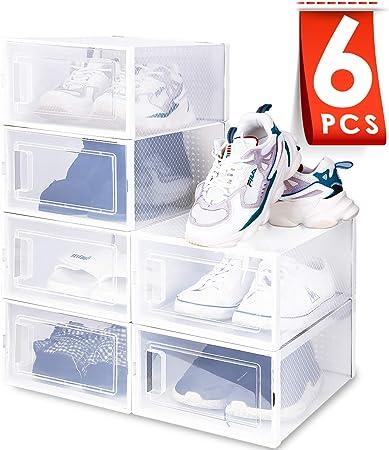 amzdeal Cajas de Zapatos Plásticas 6 Pcs - Organizador de Zapatos Transparente, Apilable y Impermeable, Caja de Almacenamiento Plegable, Ahorra Espacio, Zapateros para Hombres y Mujeres 33×23×14cm: Amazon.es: Hogar