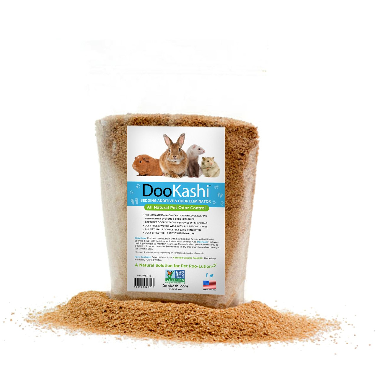 DooKashi for Small Animals Bedding Additive Extender & Odor Remover, 4.5 lb