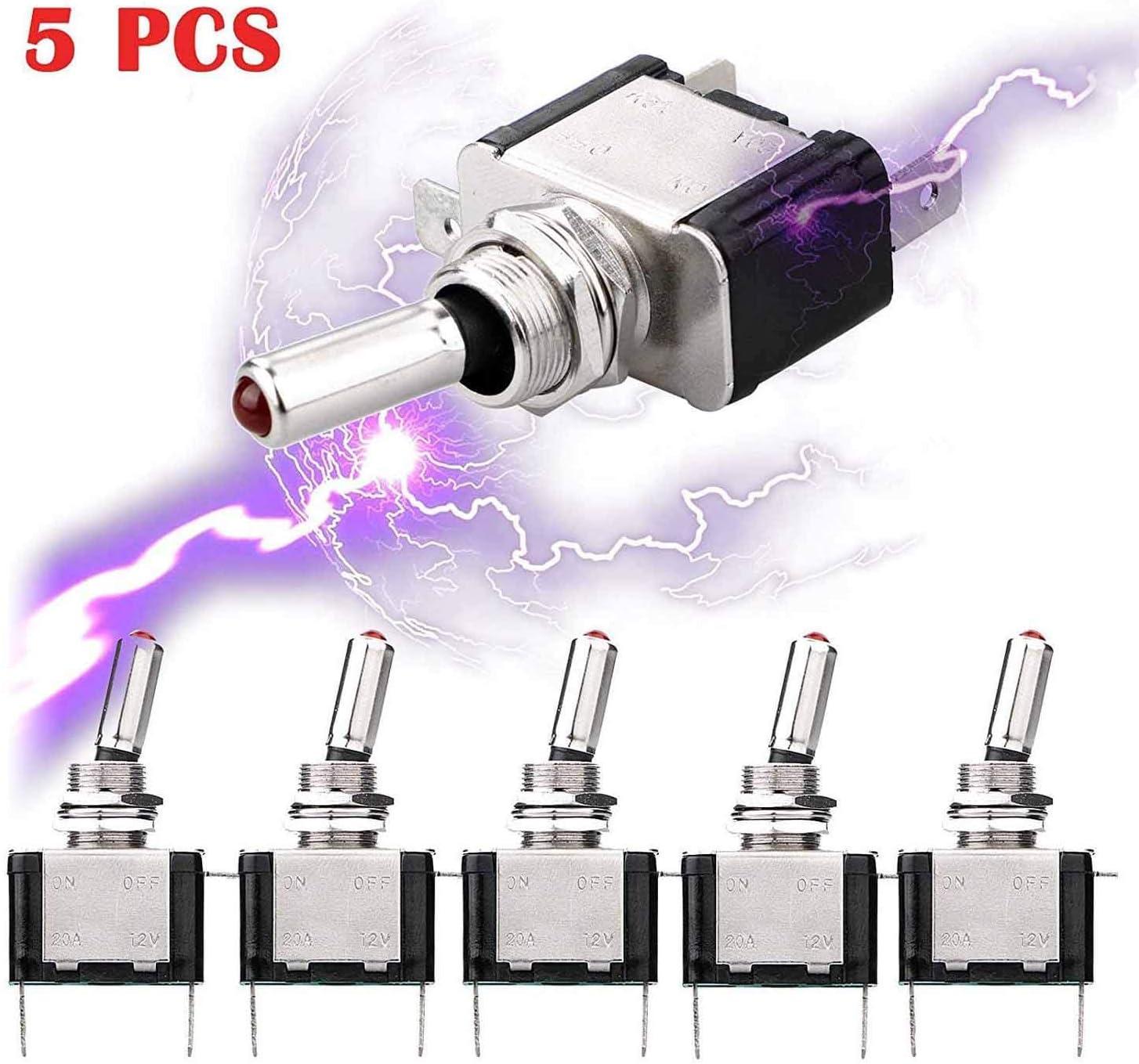 5pcs SPST LED Lighted Rocker Toggle Switch Linkstyle Marine Toggle Switch, On-Off LED Toggle Switch 12V 20A for Car RV Vehicles Truck Boat: Automotive
