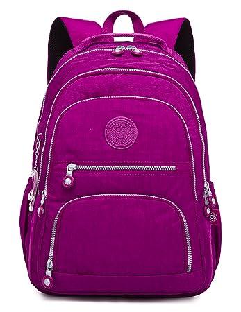 Oakarbo Backpack Medium Multi-Pocket School Bag Nylon Travel Daypack(989  Violet red) b3cef762c1921