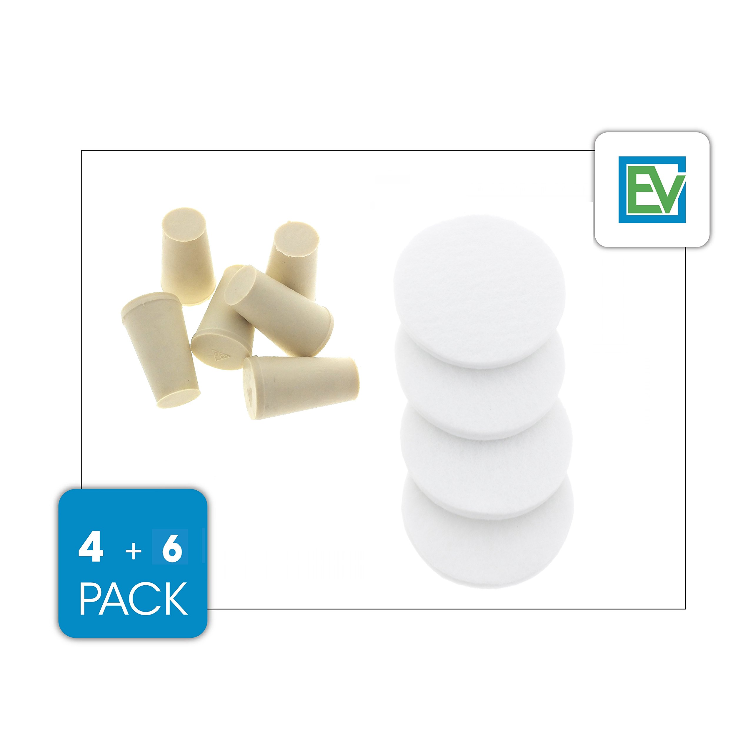 Replacement Stoppers (6 Pack) & Filters (4 Pack) Combo Pack For Toddy Cold Brew Systems, by Essential Values