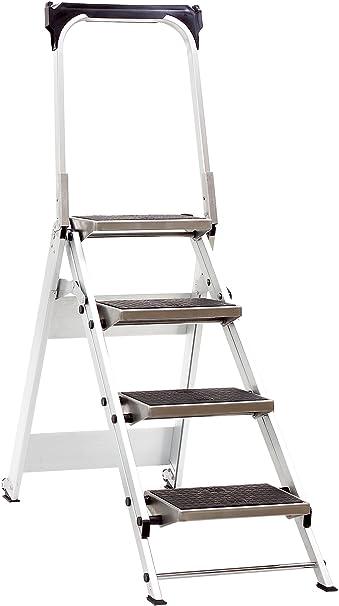 Jumbo Super Proff 41LG410B - Escalera plegable (aluminio, 4 peldaños, con asidero de seguridad): Amazon.es: Bricolaje y herramientas