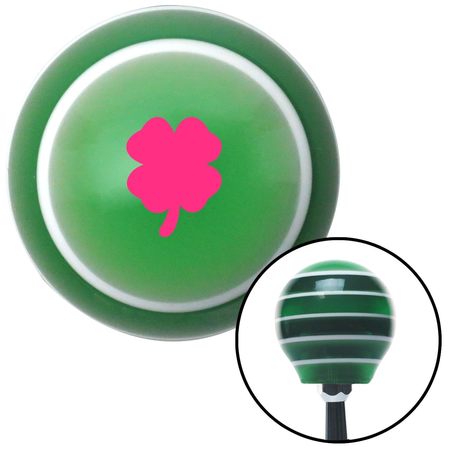 Pink Clover Green Stripe with M16 x 1.5 Insert American Shifter 274926 Shift Knob