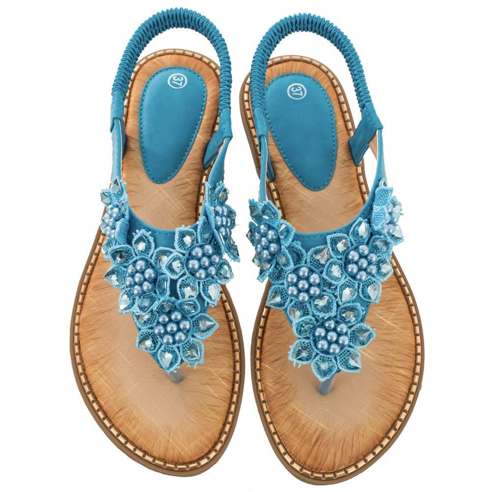 Women's Blue Rhinestone Pearl Flower Back Strap Beach Flat Sandals