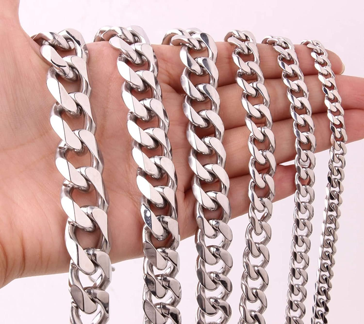 Gnzoe Stainless Steel Chain Necklace for Men Silver Curb Chain for Men Necklace 24IN